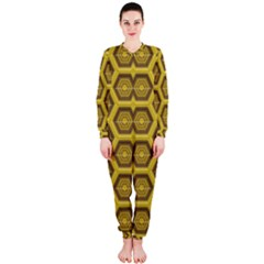 Golden 3d Hexagon Background Onepiece Jumpsuit (ladies)  by Amaryn4rt