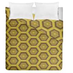 Golden 3d Hexagon Background Duvet Cover Double Side (queen Size) by Amaryn4rt