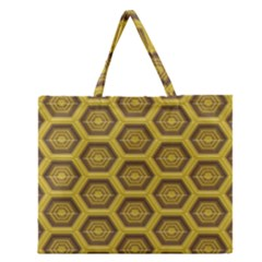Golden 3d Hexagon Background Zipper Large Tote Bag by Amaryn4rt