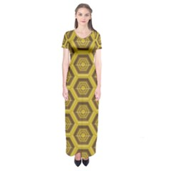Golden 3d Hexagon Background Short Sleeve Maxi Dress by Amaryn4rt