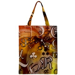 Symbols On Gradient Background Embossed Zipper Classic Tote Bag by Amaryn4rt