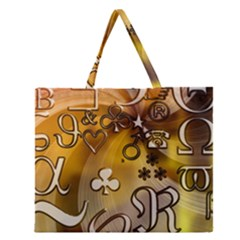 Symbols On Gradient Background Embossed Zipper Large Tote Bag by Amaryn4rt