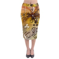 Symbols On Gradient Background Embossed Midi Pencil Skirt by Amaryn4rt