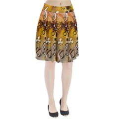 Symbols On Gradient Background Embossed Pleated Skirt by Amaryn4rt
