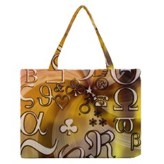 Symbols On Gradient Background Embossed Medium Zipper Tote Bag by Amaryn4rt