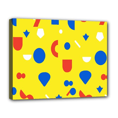 Circle Triangle Red Blue Yellow White Sign Canvas 14  X 11  by Alisyart