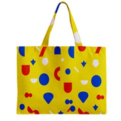 Circle Triangle Red Blue Yellow White Sign Zipper Mini Tote Bag by Alisyart