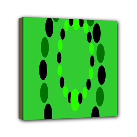 Circular Dot Selections Green Yellow Black Mini Canvas 6  X 6  by Alisyart