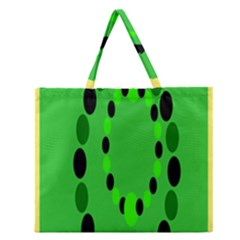 Circular Dot Selections Green Yellow Black Zipper Large Tote Bag by Alisyart