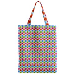 Colorful Floral Seamless Red Blue Green Pink Zipper Classic Tote Bag by Alisyart