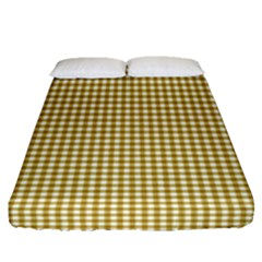 Golden Yellow Tablecloth Plaid Line Fitted Sheet (queen Size) by Alisyart