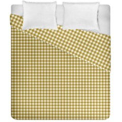 Golden Yellow Tablecloth Plaid Line Duvet Cover Double Side (california King Size) by Alisyart