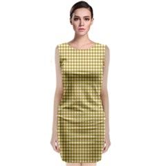 Golden Yellow Tablecloth Plaid Line Classic Sleeveless Midi Dress by Alisyart
