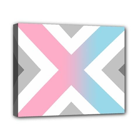 Flag X Blue Pink Grey White Chevron Canvas 10  X 8  by Alisyart