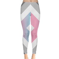 Flag X Blue Pink Grey White Chevron Leggings  by Alisyart