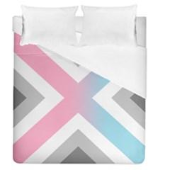 Flag X Blue Pink Grey White Chevron Duvet Cover (queen Size) by Alisyart
