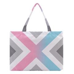Flag X Blue Pink Grey White Chevron Medium Tote Bag by Alisyart