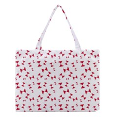 Hour Glass Pattern Red White Triangle Medium Tote Bag by Alisyart