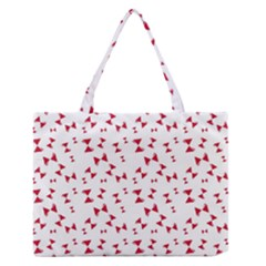 Hour Glass Pattern Red White Triangle Medium Zipper Tote Bag by Alisyart