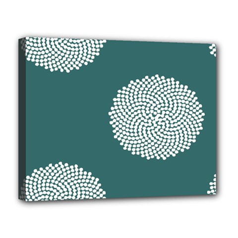 Green Circle Floral Flower Blue White Canvas 14  X 11  by Alisyart