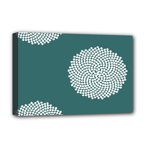 Green Circle Floral Flower Blue White Deluxe Canvas 18  X 12   by Alisyart