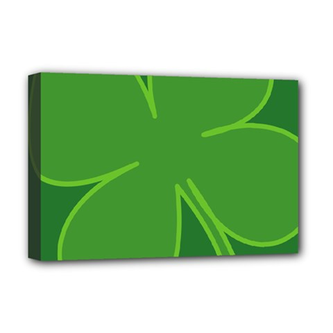 Leaf Clover Green Deluxe Canvas 18  X 12   by Alisyart