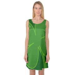 Leaf Clover Green Sleeveless Satin Nightdress by Alisyart