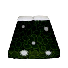 Graphics Green Leaves Star White Floral Sunflower Fitted Sheet (full/ Double Size) by Alisyart