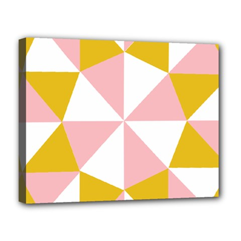 Learning Connection Circle Triangle Pink White Orange Canvas 14  X 11  by Alisyart