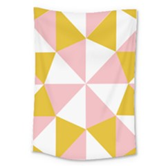 Learning Connection Circle Triangle Pink White Orange Large Tapestry by Alisyart