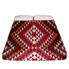 Indian Pattern Sweet Triangle Red Orange Purple Rainbow Fitted Sheet (king Size)