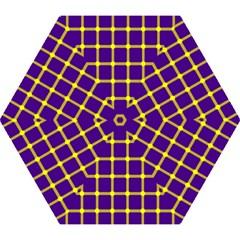 Optical Illusions Circle Line Yellow Blue Mini Folding Umbrellas by Alisyart