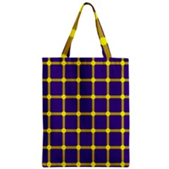 Optical Illusions Circle Line Yellow Blue Zipper Classic Tote Bag by Alisyart