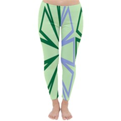 Starburst Shapes Large Green Purple Classic Winter Leggings by Alisyart