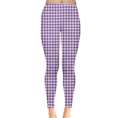 Purple Tablecloth Plaid Line Leggings  by Alisyart