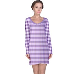 Purple Tablecloth Plaid Line Long Sleeve Nightdress by Alisyart