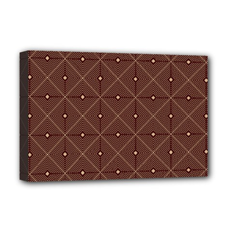 Coloured Line Squares Plaid Triangle Brown Line Chevron Deluxe Canvas 18  X 12   by Alisyart