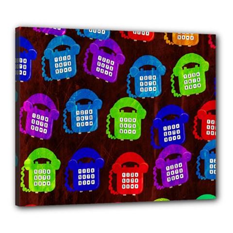 Grunge Telephone Background Pattern Canvas 24  X 20  by Amaryn4rt