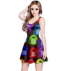 Grunge Telephone Background Pattern Reversible Sleeveless Dress