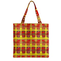 Funny Faces Zipper Grocery Tote Bag by Amaryn4rt