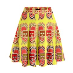 Funny Faces High Waist Skirt by Amaryn4rt