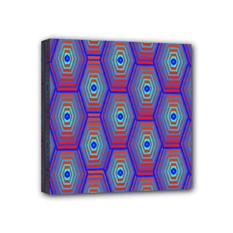 Red Blue Bee Hive Pattern Mini Canvas 4  X 4  by Amaryn4rt