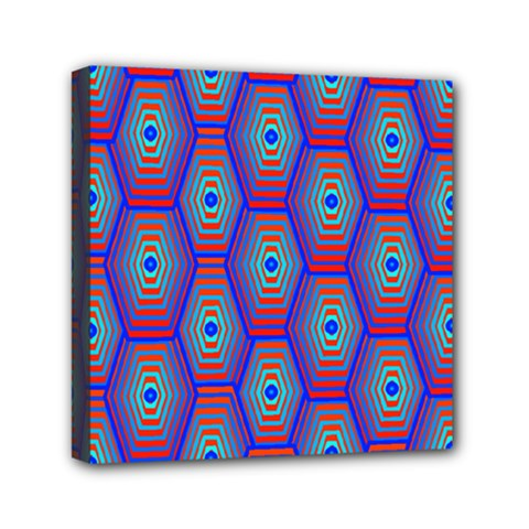 Red Blue Bee Hive Pattern Mini Canvas 6  X 6  by Amaryn4rt