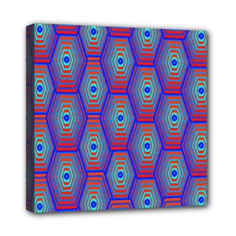 Red Blue Bee Hive Pattern Mini Canvas 8  X 8  by Amaryn4rt
