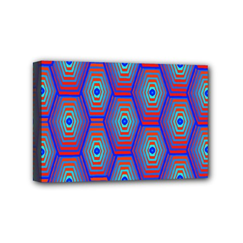 Red Blue Bee Hive Pattern Mini Canvas 6  X 4  by Amaryn4rt