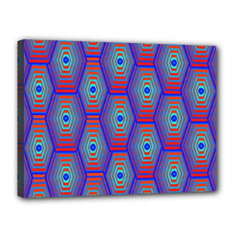 Red Blue Bee Hive Pattern Canvas 16  X 12  by Amaryn4rt