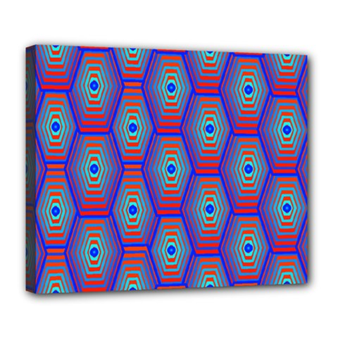 Red Blue Bee Hive Pattern Deluxe Canvas 24  X 20   by Amaryn4rt