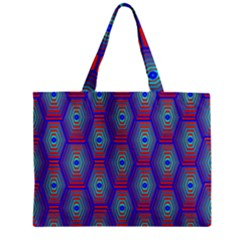 Red Blue Bee Hive Pattern Zipper Mini Tote Bag by Amaryn4rt