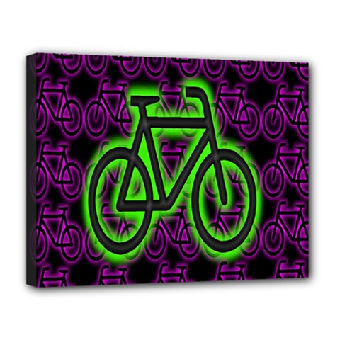 Bike Graphic Neon Colors Pink Purple Green Bicycle Light Canvas 14  X 11  by Alisyart