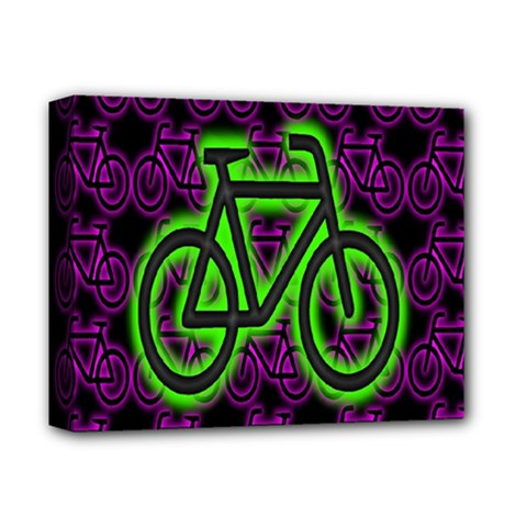 Bike Graphic Neon Colors Pink Purple Green Bicycle Light Deluxe Canvas 14  X 11  by Alisyart